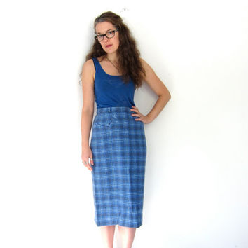 Plaid 60s Wool Pencil Skirt High Waist Blue White Preppy Fall Skirt Midi Over Knee Length Front Pocket Mod Small Louanne's Vintage