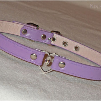 Light Purple Beloved Kitten Collar -  3 Heart  Ring Kitten Collar