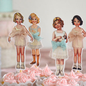 Paper Doll Cupcake Topper / Vintage Girls / Paper Cupcake Topper / 12 cupcake topper
