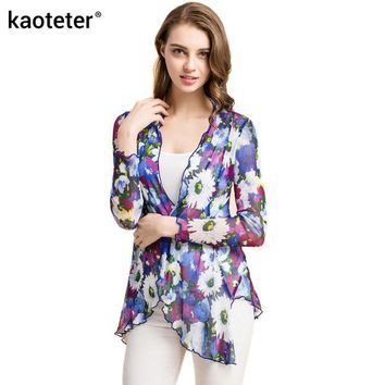 DCCKFC9 100% Pure Silk Yarn Women's Shawl Blouses Female Thin Transparent Women Air Conditioning Shirts Solid Long Sleeve Blouse Woman