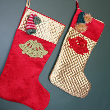 3d Stocking Set Christmas Bells Decor Gold Stocking Santa Hat Stocking Set READY To SHiP