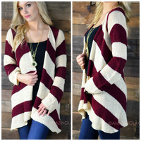 Hatties Gate Burgundy Striped Cardigan