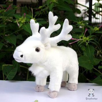 White Reindeer Stuffed Animal Plush Toy 9""