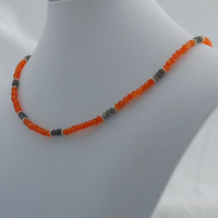 Faceted Carnelian, Labradorite & Sterling Silver Statement Necklace