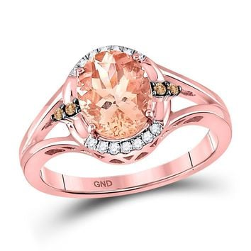 10kt Rose Gold Women's Oval Lab-Created Morganite Solitaire Diamond Ring 2.00 Cttw