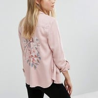 New Look Embroidered Back Shirt at asos.com