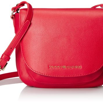 Tommy Hilfiger Pebbled Leather Saddle Racing Red Cross Body Bag