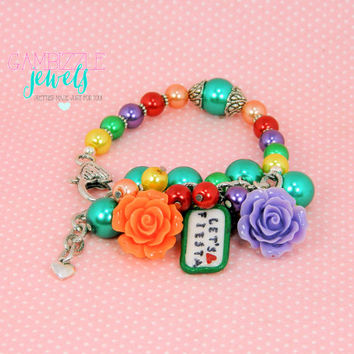 Let's Fiesta! Cinco de mayo mexican pride themed colorful bracelet with polymer clay charm