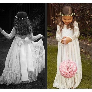 Long Sleeve Flower Girl Cute Ruffled Lace Handmade Vintage Flower Girls' Dresses Girl's Pageant Gowns Princess