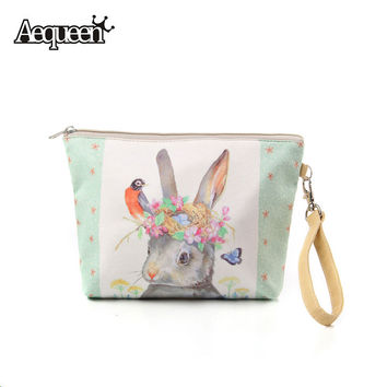 New Big Size Women Cosmetic Case Make Up Bags Travel Flower Floral Canvas Zipper Simple Casual Girl Lady Pouch Storage Organizer