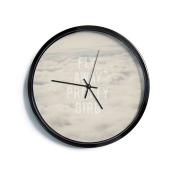"Catherine McDonald ""Fly Away Pretty Bird""  Modern Wall Clock"