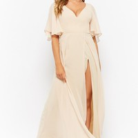 High-Slit Chiffon Maxi Dress