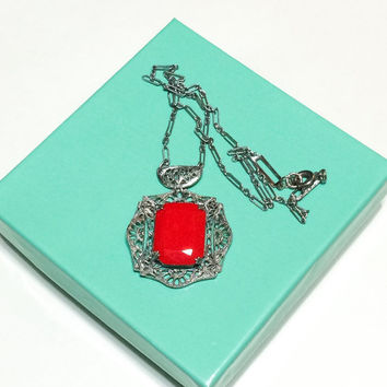 Art Deco Filigree Pendant Necklace, Lipstick Red Glass, Paper Clip Chain, Pierced Metal, 1920s to 1930s