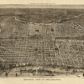 Antique Map of Philadelphia (1872) - Archival Reproduction