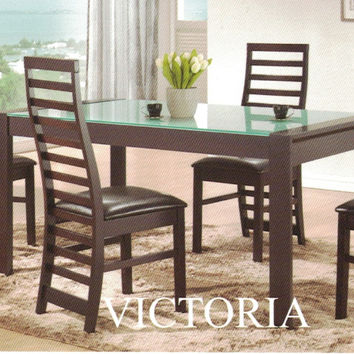 Casa Blanca CB-Victoria-B-GL-7PC 7 pc victoria collection espresso finish wood glass top dining table set