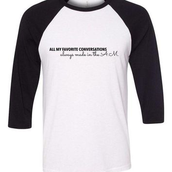 DCKL9 One Direction 'All My Favorite Conversations Always Made in the A.M.' Baseball Tee