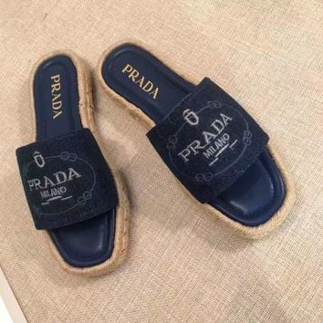 2018 Prada Women Fashion Casual Heels Shoes Sandals Shoes