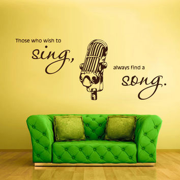 Wall Vinyl Sticker Decals Decor Art Bedroom Design Mic Microphone Sing Song Music (z755)