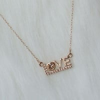 Rose gold love necklace with rhinestone,Charm necklace,Tiny necklace,Dainty necklace,Everyday necklace,her necklace,gift for her