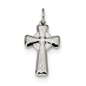 925 Sterling Silver Polished and Textured Celtic Cross Shaped Pendant