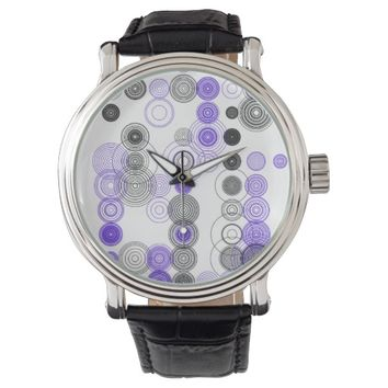 Custom Vintage Black Leather Watch Abstract Art