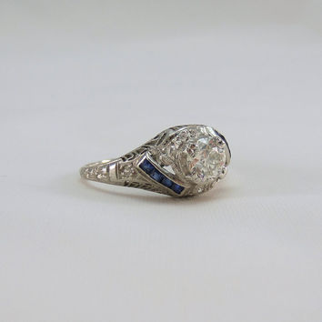 Deco Platinum Engagement Ring. Circa 1920s Diamond and Sapphire. Platinum Filigree. Addy on Etsy.