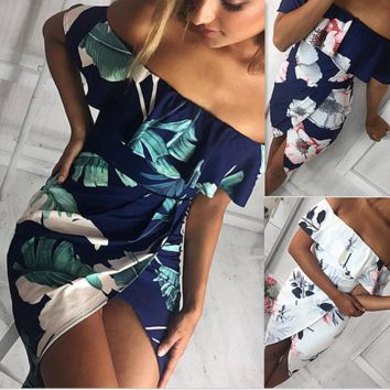 Hot sale fashion sexy off shoulder print tree dress