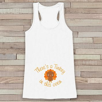 Thanksgiving Pregnancy Announcement Tank - Turkey in This Oven Pregnancy Reveal - Pregnancy Shirt - White Tank - Boy Thanksgiving Pregnancy