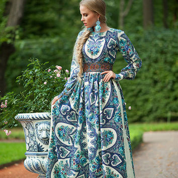 Floral Maxi Dress, long summer dress, Blue gypsy Dress, bohemian dress, boho dress, Special occasion dress, Russian dress pavlovo posad