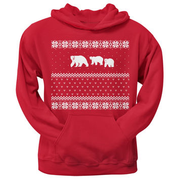 Polar Bears Ugly Christmas Sweater Red Adult Hoodie