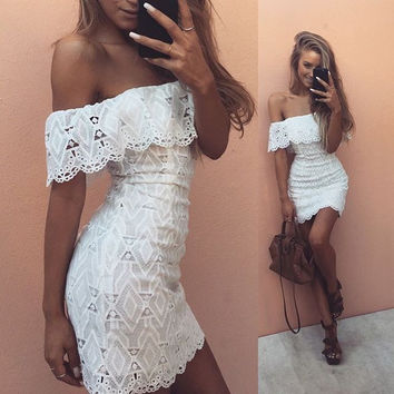 Elegant off shoulder girl white lace dress Women sexy high waist evening party summer dress 2016 casual vestidos