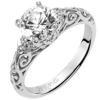 """Artcarved """"Peyton"""" Diamond Engagement Ring Featuring Scrollwork Design"""
