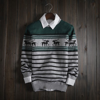 Fashion Men's Comfortable Christmas Deer Knitted Sweater