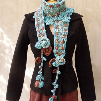 #boho scarf #knitted scarf #freeform scarf #crocheted scarf #hand crocheted and hand knitted scarf with tufted garnishee