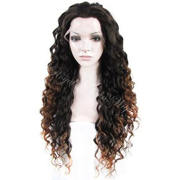 """26"""" Synthetic Dark Root to Light Brown Ombre Curly Lace Front"""