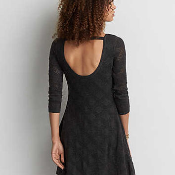AEO Open Back Sweater Dress, True Black