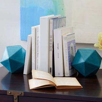 LEATHER TRIANGLE ORB BOOKENDS, SET OF 2