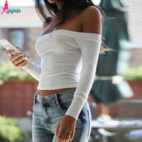 Gagaopt 2016 Brand New Blusas Blouse Women Female Femme White Long Sleeve Off Shoulder Top Cotton Sexy Fashion Short 90'S T0895