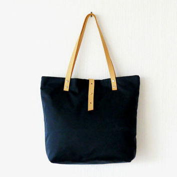 Waxed Canvas Tote Bag Navy Blue, Tote Leather Handles, Large Purse Handbag Shoulder Bag, Everyday Casual Sports, Unisex, nautical Summer Bag