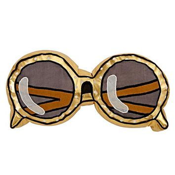 Sunglasses Throw Pillow (Gold)