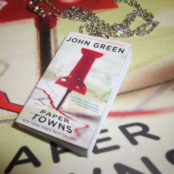 Paper Towns by John Green Literary Miniature Book Necklace or Bookmark