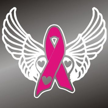 Breast Cancer Awareness Ribbon  with Angel Wings by gotdecalz