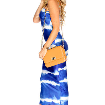 Sexy White Blue Watercolor Strapless Tube Party Dress