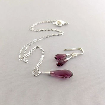 Necklace Set Amethyst Crystal Pure Drop Trumpet and Sterling Silver