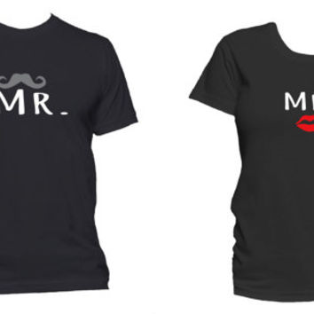 Mr and Mrs Matching Couple T-Shirt His and Hers Matching Shirts Black Cotton Couple Tee