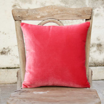 """Coral pink silky velvet pillow cover 14"""" x 14"""""""