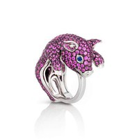 Roberto Coin 18k Sapphire Pavé Pig Ring, Size 6.5