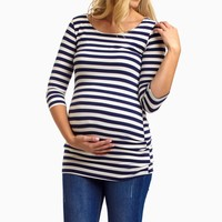 Navy Blue White Striped 3/4 Sleeve Maternity Shirt