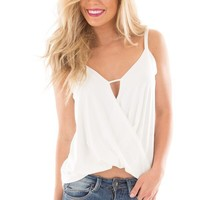 Off White Surplice Drape Front Sleeveless Top