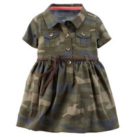 2-Piece Camo Shirt Dress & Sweater Set